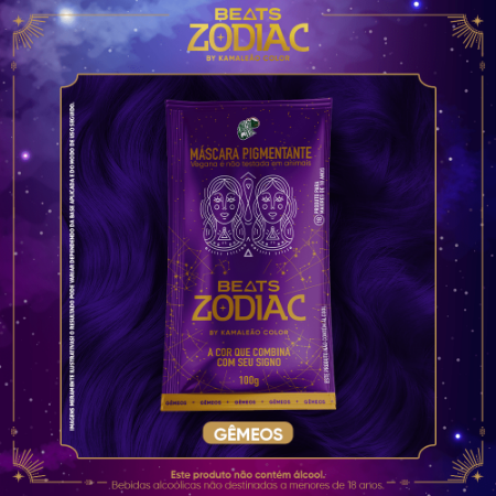 Máscara Pigmentante Beats Zodiac AR - Gêmeos (Roxo) 100g Kamaleão Color