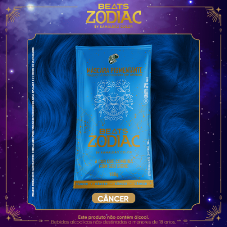 Máscara Pigmentante Beats Zodiac ÁGUA Câncer (Azul Claro) 100g Kamaleão Color