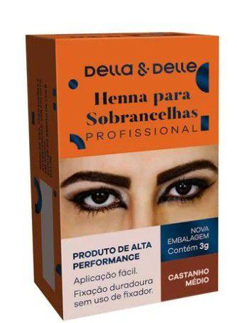 Henna Sobrancelha Della & Delle Castanho Medio 8G
