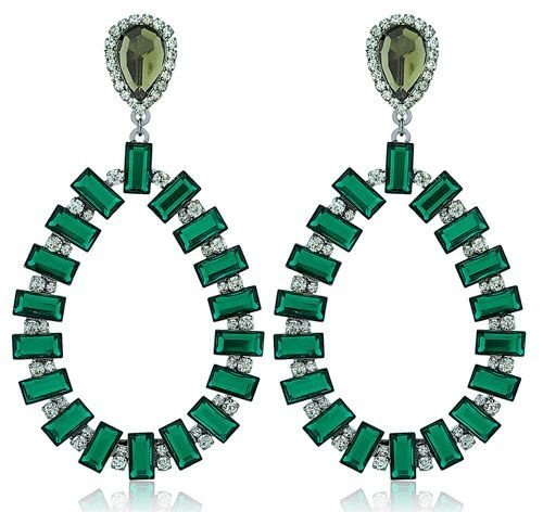 Brinco Festa Gota Pedras Verde Esmeralda