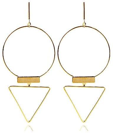 Brinco Geométrico Dourado Folheado Triângulo