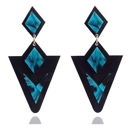 Brinco de Acrílico Triângulo Preto com Azul Mescla