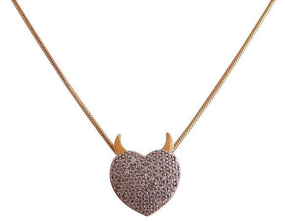 Gargantilha Semijoia Cravejados com Zircônias - Coração