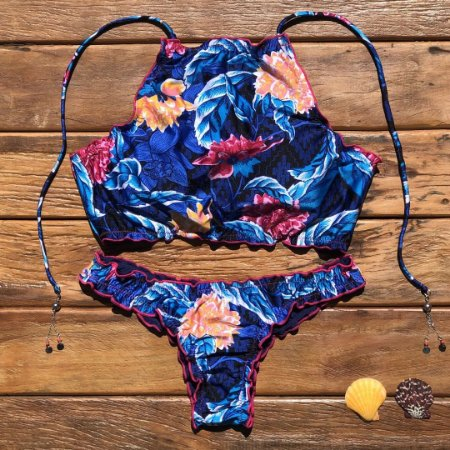 CROPPED RIPPLE AZUL FLORAL