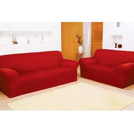 Capa de sofá com elástico 2 e 3 lugares lisa vermelha ...
