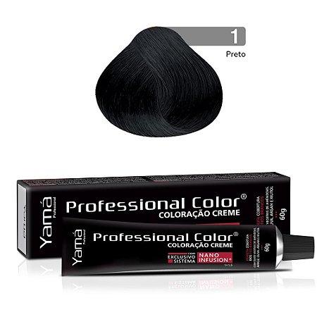 Coloração Yamá Creme Professional Color Nano Infusion 1.0 Preto