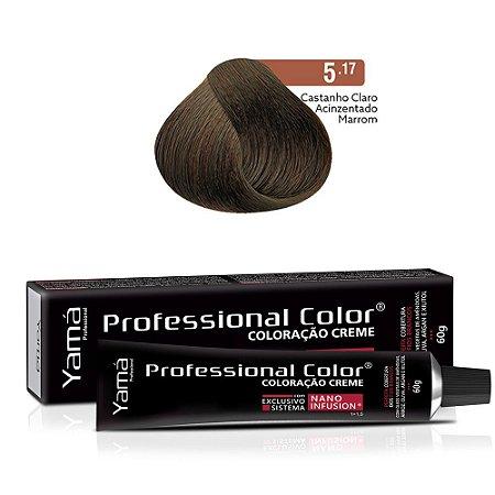 Coloração Yamá Creme Professional Color Nano Infusion 5.17 Castanho Claro Acinzentado Marrom