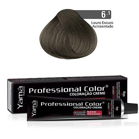 Coloração Yamá Creme Professional Color Nano Infusion 6.1 Louro Escuro Acinzentado