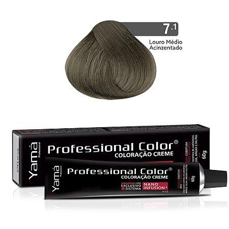 Coloração Yamá Creme Professional Color Nano Infusion 7.1 Louro Médio Acinzentado
