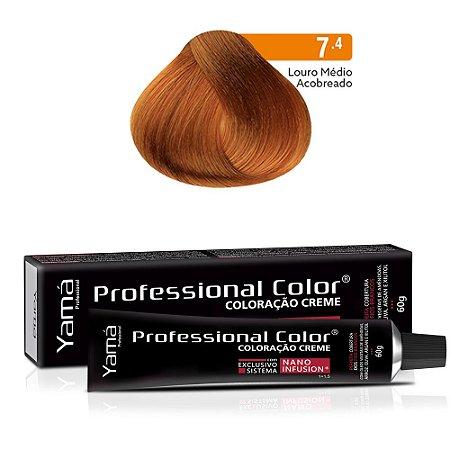 Coloração Yamá Creme Professional Color Nano Infusion 7.4 Louro Médio Acobreado