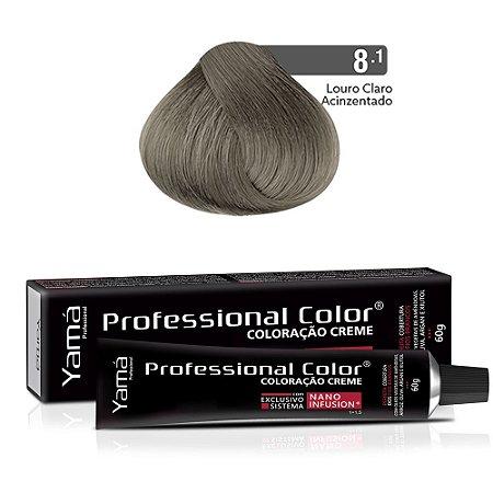 Coloração Yamá Creme Professional Color Nano Infusion 8.1 Louro Claro Acinzentado