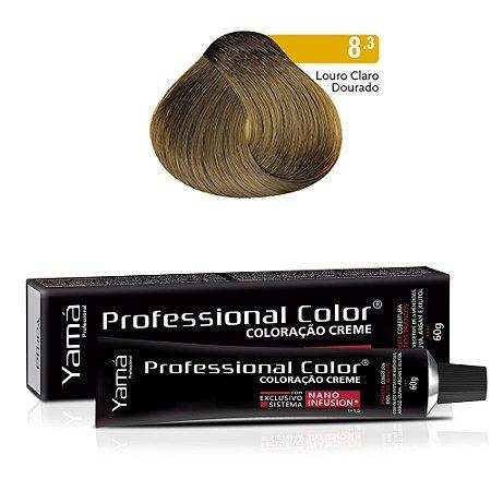 Coloração Yamá Creme Professional Color Nano Infusion 8.3 Louro Claro Dourado