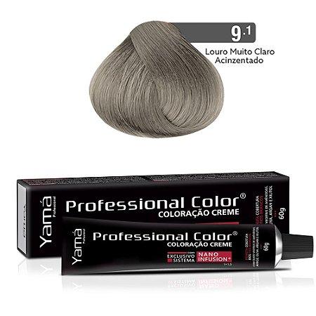 Coloração Yamá Creme Professional Color Nano Infusion 9.1 Louro Muito Claro Acinzentado