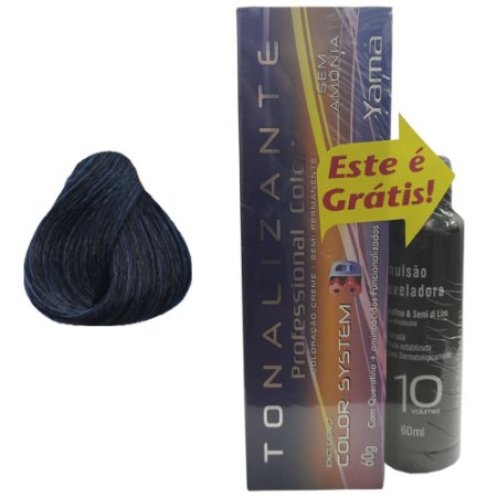 Pack  Tonalizante 3D N. 1.1  Preto Azulado + Emulsão Professional Color 10Vol 60ml