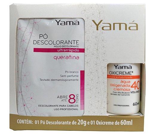 Kit Clareador Pó Descolorante Queratina  20g  + Água Oxigenada Cremosa Yamá 40Vol  60ml