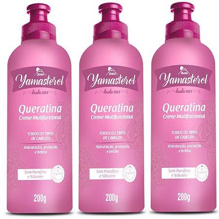 Creme Multifuncional Yamasterol Queratina 200g  Yamá (Kit C/03) - Perfumaria em Casa
