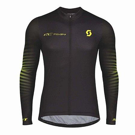 Camisa Ciclismo Scott RC Team 10 Manga Longa - Preto Amarelo