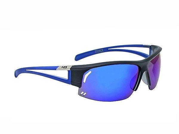 Óculos HB Track - Black Matte Blue (Lentes Blue Chrome)
