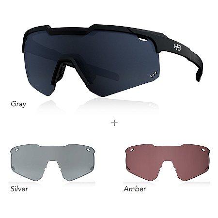 Óculos HB Shield Evo Road - Matte Black - kit 3 lentes: Gray, Silver e Âmbar