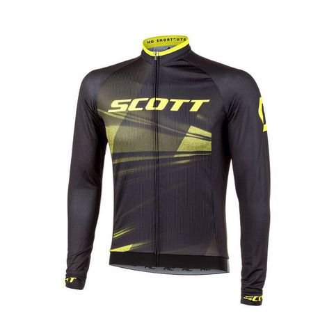 Camisa Ciclismo Scott RC Pro 2020 - Manga Longa - Preto Amarelo