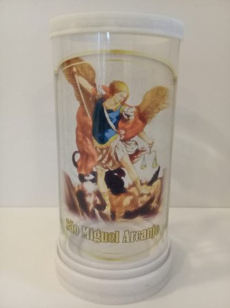 Porta vela vidro e mármore São Miguel Arcanjo