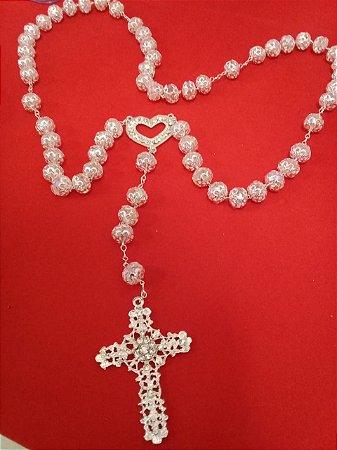 Terço de Noiva prata cristal, cruz com strass