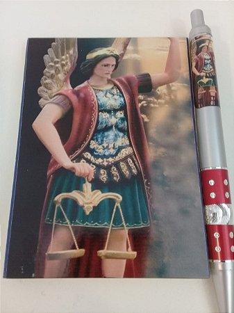 Kit bloco com caneta foto personalizado São Miguel Arcanjo