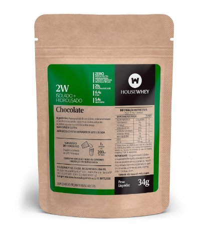 2W - WHEY ISOLADO E HIDROLISADO - CHOCOLATE - caixa com 15 sachês de 34g