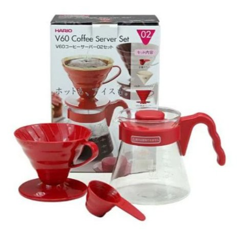 Conjunto Kit Hario V60 Craft Coffee Maker Vermelho