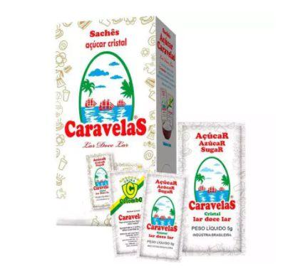Açúcar Cristal Sachê Caravelas - Caixa com 40 x 5g