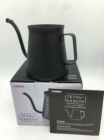 Mini Chaleira Hario Tetsu Kasuya Preta 300ml