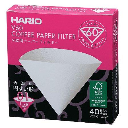Filtro Branco para Coador Hario V60 Tamanho 01 - 40 unidades