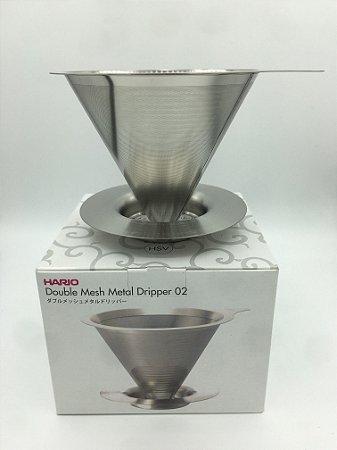 Coador de Café c/ Filtro Permanente Inox - Parede Dupla - Tam.02 - Hario