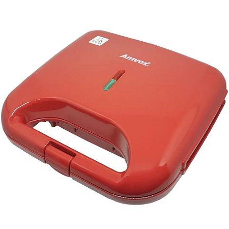 Sanduicheira e Grill Elétrica 750W Lanches Dupla Antiaderente Vermelha Amvox AMS 370 RED 220v