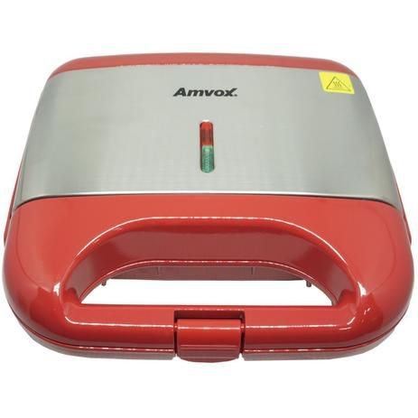 Sanduicheira e Grill Elétrica 750W Lanches Dupla Antiaderente Vermelha Inox Amvox AMS 500 RED