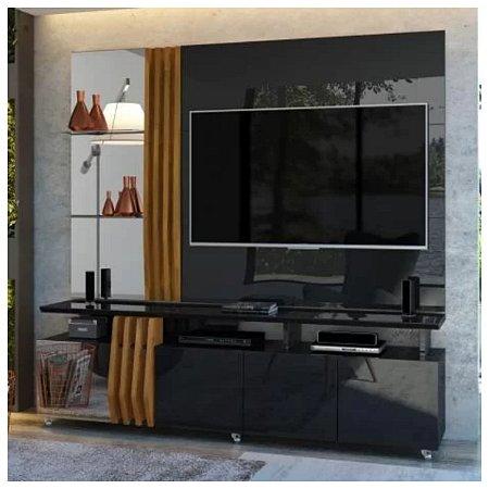 Rack com Painel Donna Preto-Brilho-Demolição Dj Móveis