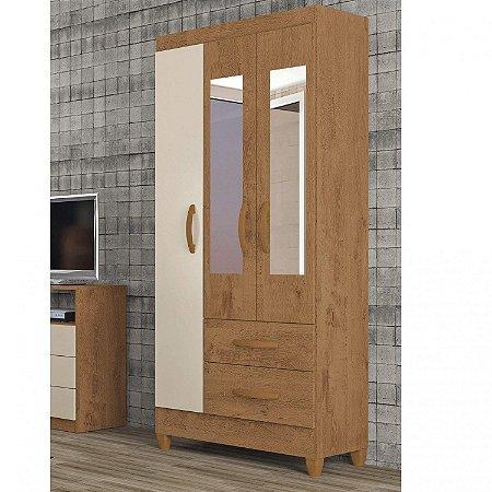 Guarda Roupa 03 Portas Real com Espelho Canelato/Rústico/Off-Atualle