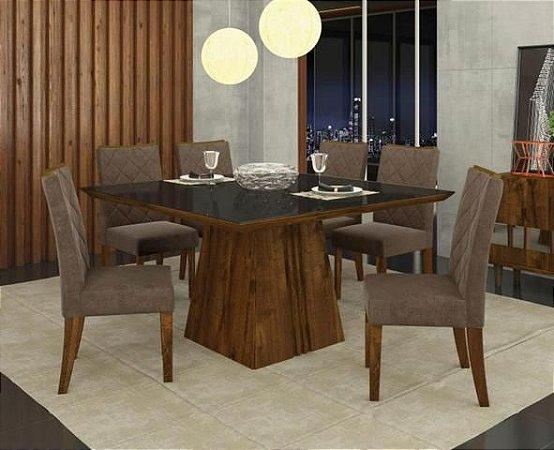 Mesa de 08 Cadeiras Itália 1400x1400 Rústico/Malbec-DJ Móveis