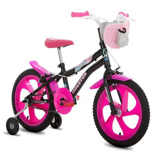 Bicicleta Tina Preta com Bolsa Aro 16 Preta-Houston