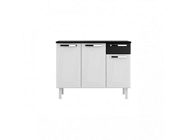 Balcão Aço 03 Portas 01 gavetas Branco/Preto Glass M-Colomarq
