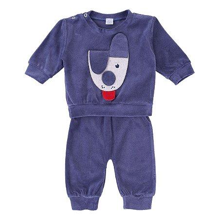 Conjunto Plush Baby Gijo Blusa Bordado Cachorrinho Calça Lisa Azul