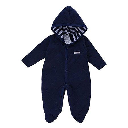 Macacão Longo Baby Gijo Mantado Com Capuz Azul Marinho Tamanho M