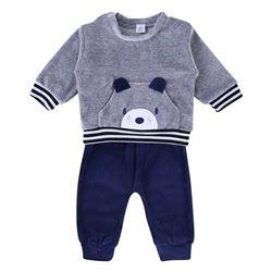 Conjunto de Plush Baby Gijo Cachorrinho Blusa Cinza/Azul