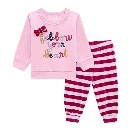 Conjunto Moletom Brandili Menina com Calça de Plush Siga seu Coração Rosa