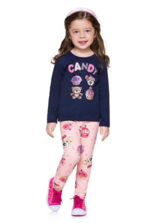 Conjunto Brandili Menina Teddy Bears Blusa E Legging Cotton