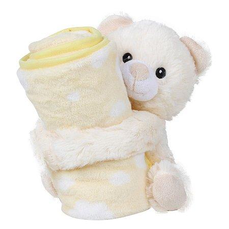 Cobertor e Ursinho de Pelúcia Amarelo Antialérgico