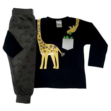 Conjunto Infantil Inverno Menino Blusa Malha e Calça Moletom Peluciado Girafa Ollelê Preto