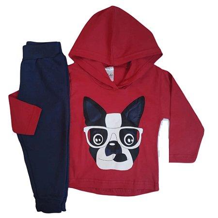 Conjunto Infantil Inverno Menino Blusa Malha e Calça Moletom Peluciado Cachorrinho Ollelê Vermelho