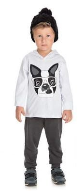 Conjunto Infantil Menino Blusa Malha e Calça Moletom Peluciado Cachorrinho Ollelê Branco