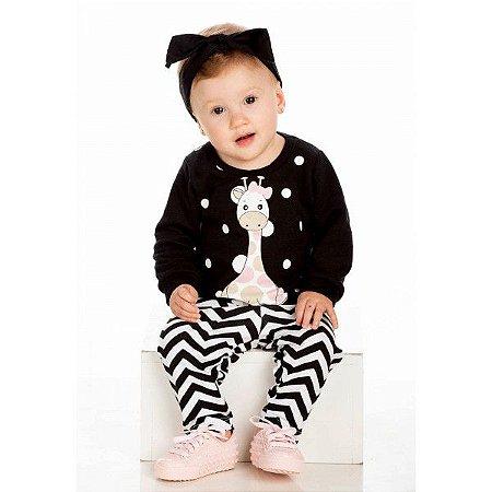 Conjunto Infantil Inverno Moletom/Cotton Menina Ollelê Little Girafa Preto